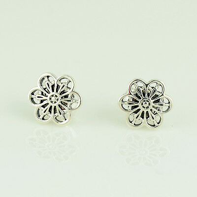 Genuine PANDORA Silver Floral Daisy Lace Earrings - 290692