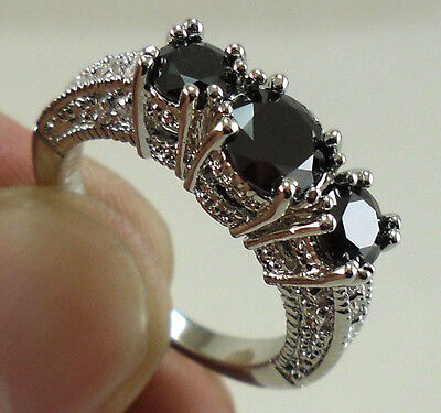 Women 925 Sterling Silver Black Sapphire Ring Wedding Engagement Fashion Jewelry