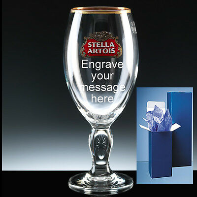 Personalised STELLA ARTOIS Engraved 1 Pint Glass + Gift Box Christmas Birthday