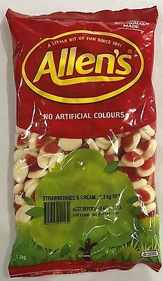 905916 1.3kg BULK BAG OF LOLLIES - ALLEN'S FAMOUS STRAWBERRIES & CREAM! - AUS