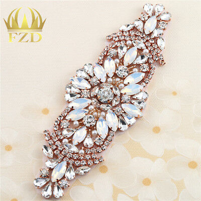 Rose Gold Rhinestone Applique Bridal Accessories For Wedding Dress Sash Belt