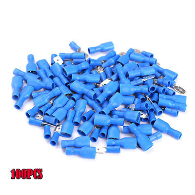 100X Female/Male Electrical Spade Connector Fully Insulated Crimp Terminal UK