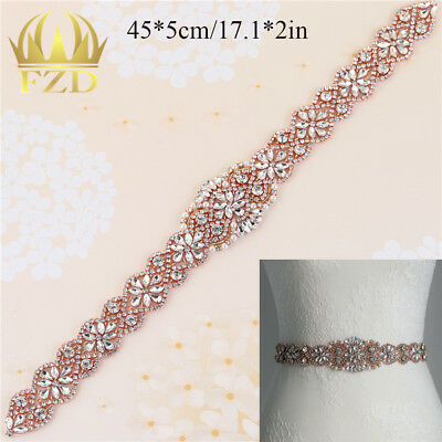 2017 Rose Gold Crystal Bridal Rhinestone Applique for Handmade Wedding Gown Belt