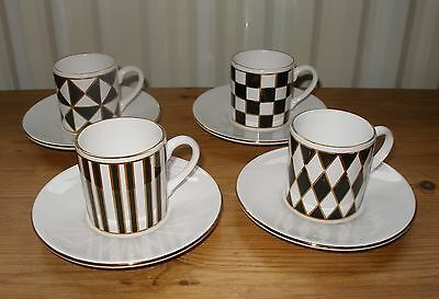 Hornsea Pottery Silhouette Coffee Cups & Saucers - set of 4 EXCELLENT CONDITION