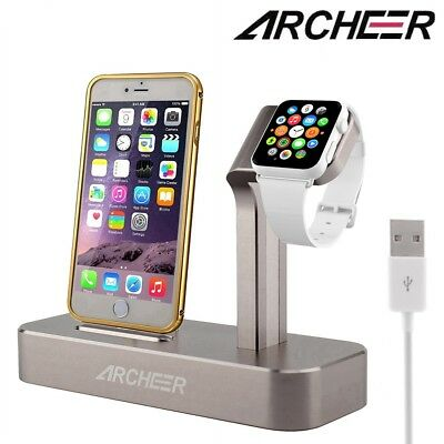 ARCHEER Charging Dock Station Holder Stand For iWatch iPhone Apple Watch Charger