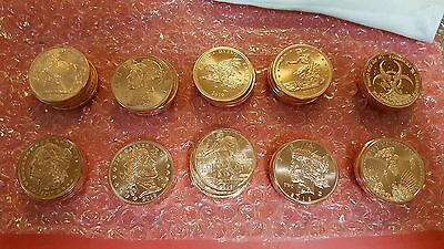 Zombucks Zombie Copper Coins Rounds Complete Set of 10 with Capsules and Sleeves
