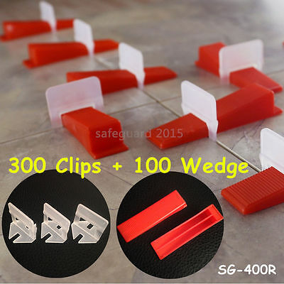 400 Tile Leveling System = 300 Clips + 100 Wedges - Plastic Spacers Tiling Tools