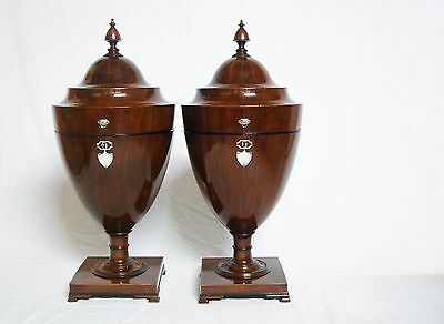 Rare Pair Of George Iii Mahogany Knife Urns With Satinwood & Ebony Inlay