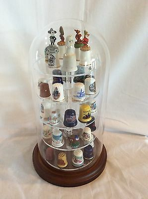 42 Thimble Glass Dome with W/ Walnut Base (no thimbles included) 5.5x11 #335tp