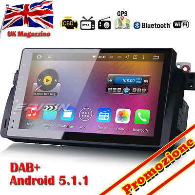 "9"" Navigazione Android 5.1 DAB+ Autoradio GPS Wifi DTV-IN BMW E46 3er M3 4906YD"