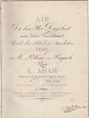 ADAM LOUIS Spartito Musica AIR DU BON ROI DAGOBERT Variations Piano Duhan 1808