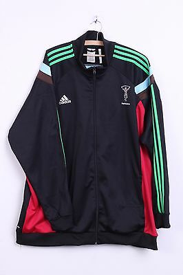 Adidas Harlequins Mens 3XL Sweatshirt Jumper Warm Up Jacket Black Sport Rugby