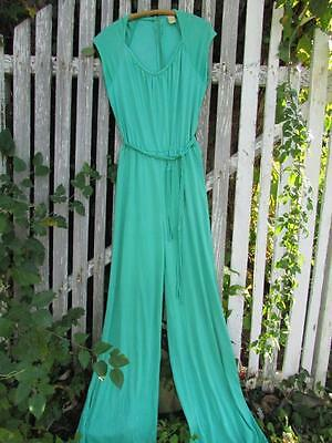 Vintage 70s mod retro disco silky nylon aqua green jumpsuit pants 1 pc wide leg