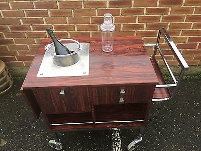 Stunning 1970'S  Retro Rosewood Drinks Cocktail Trolley English