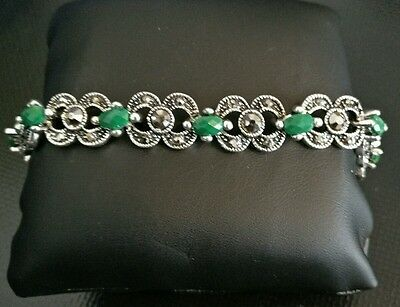 Antique Vintage Style Bracelet Silver Emerald Green Stones Bangle jewellery