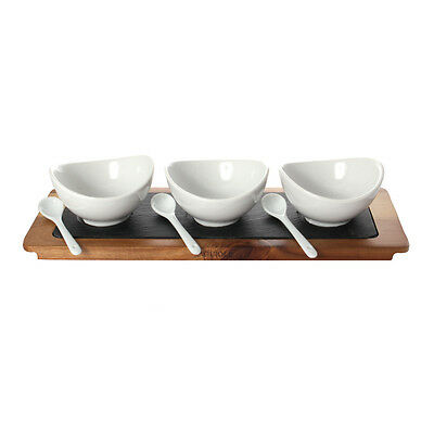 Laguiole L'Eclair 3 Ceramic cups with spoons, on wooden and slate tray