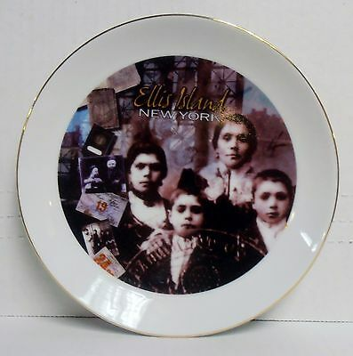 "New York, Ellis Island 7"" Dia.  Porcelain Decorative Plate w/Loop, BRAND NEW"