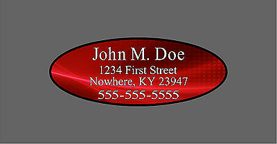 Custom Red Oval Shaft Labels For Back of Shaft With Your Information