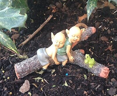 Elves on a log Garden Ornament Pixie Fairy Garden