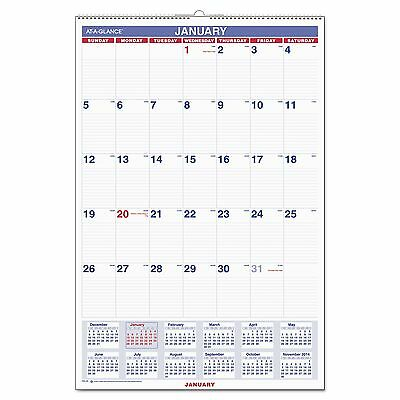 AT-A-GLANCE PM4-28 Monthly Wall Calendar with Ruled Daily Blocks  20 x 30