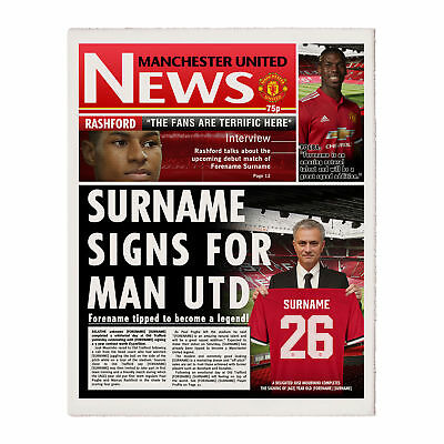 Personalised Football Manchester United Newspaper - Single Page - Xmas Gift