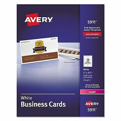 Avery 5911 Printable Microperf Business Cards Laser 2 x 3 1/2 White Uncoated