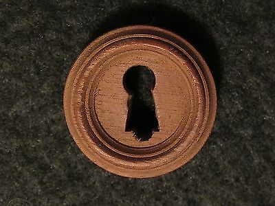 One Antique Walnut Keyhole Cover with Rabbet 1-1/4 Inch c.1910 (MANY AVAILABLE)