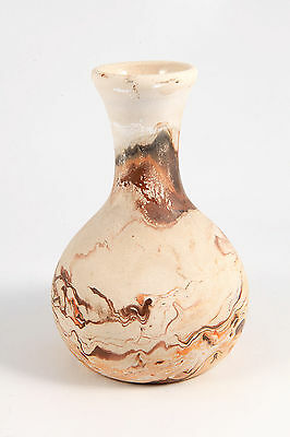 Nemadji Indian River VTG Art Pottery Vase Orange Brown Swirl Southwestern Décor