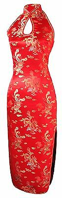 7Fairy Women's Wedding Red Dragon Halter Backless Long Chinese Dress 4