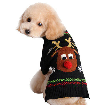 Pet Puppy Dog Soft Coat Winter Jumpsuit Knit Sweater Apparel Clothing Costumes