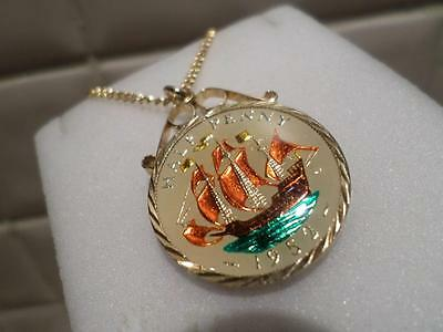 Vintage Enamelled Half Penny Coin 1952 Pendant & Necklace. Xmas / Birthday Gift