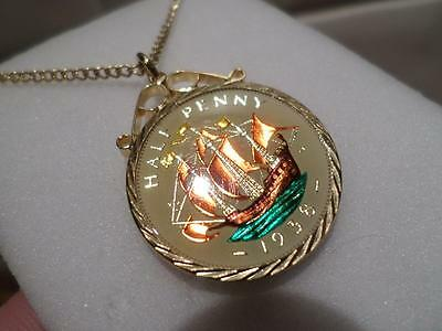 Vintage Enamelled Half Penny Coin 1938 Pendant & Necklace. Xmas / Birthday Gift