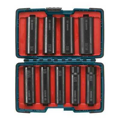 9-Piece 1/2 in. Deep Well Impact Socket Set Bosch Tools 27286 New