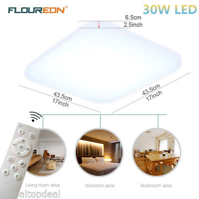 Bright 30W LED Ceiling Down Light Flush Dimmable Kitchen Bedroom Pendant Remote