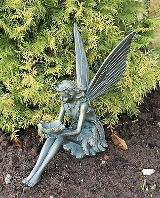 Large Garden Ornament Sitting Fairy Sculpture Antique Bronzed finish 39cm tall