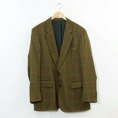 True Vintage Burberry Men's Lined Suit Jacket Blazer Green Checked Large 42R