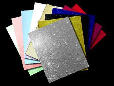 Pack of 3 Sheets Fixed Glitter Card (Various Colours Available)