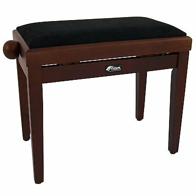 Tiger Adjustable Piano Stool Bench - Classic High Gloss Mahogany