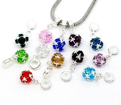 Silver Plated Birthstone Rhinestones Dangle Charm Beads For European Bracelet
