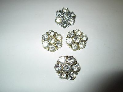Lot 4 Lovely RHINESTONE BUTTON BUTTONS