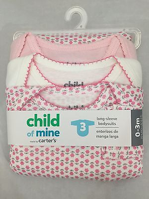 Carter's Child of mine 3 pack long sleeve bodysuits 0-3 Months