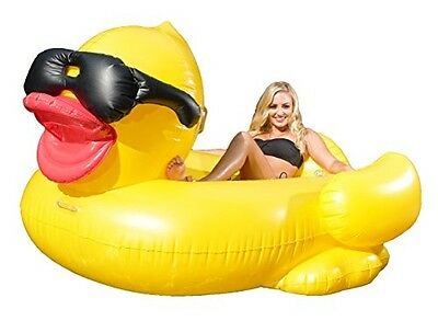 Giant Inflatable Riding Derby Duck Pool Float Floating Cup For Lounger Raft Hold