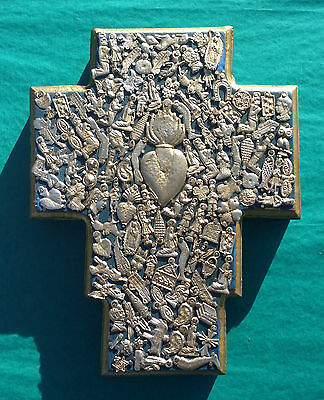 Wood Cross 3D Mexico Handmade Nailed Metal Milagros 10.5x7.5x1.5 Gold Heart