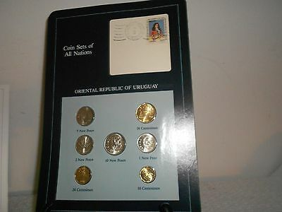 COIN SETS OF ALL NATIONS-Oriental Republic of Uruguay 7 Coins 1980/81 w/infocard