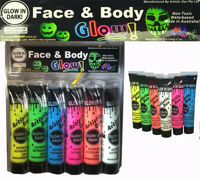 Artistic Den Face and Body Paint Glow in the Dark - Set 6