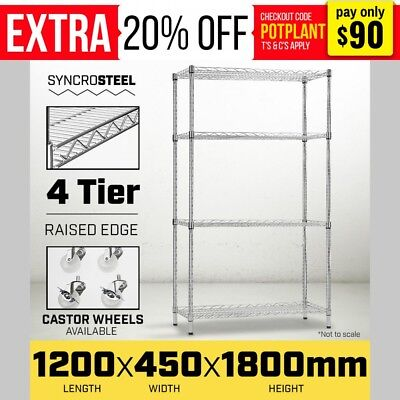 1200 X 450 Modular Chrome Wire Shelving Shelf Storage Steel Metal Shop Display