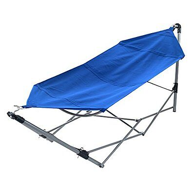 Portable Hammock With Frame Stand And Carrying Bag Blue Camping Travel Folding B