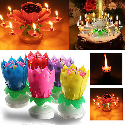 Birthday Candle Lotus Flower Blossom Musical Cake Toppers Double-deck Magical