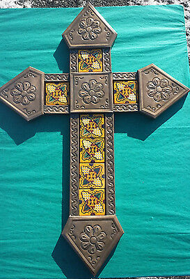 Punched Tin and Talavera Ceramic Tile Cross Mexican 22x12 Copper Color