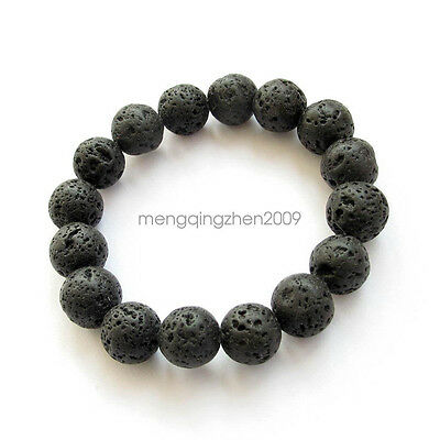 Black Volcano Stone Tibet Buddhist Prayer Bead Mala Bracelet Best Christmas GIft